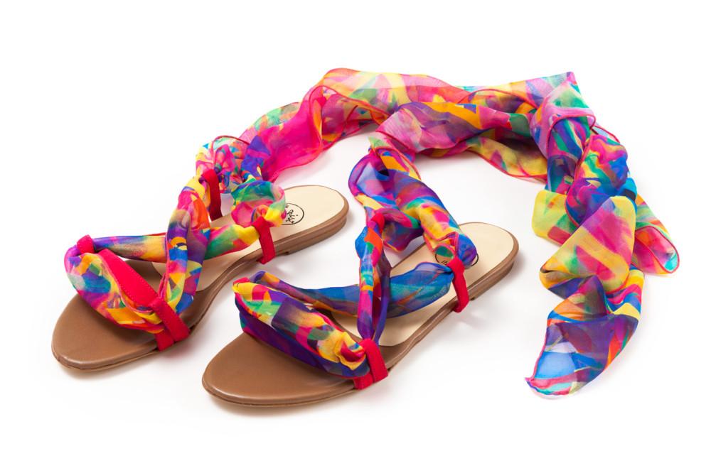 sandali artigianali in pelle e seta